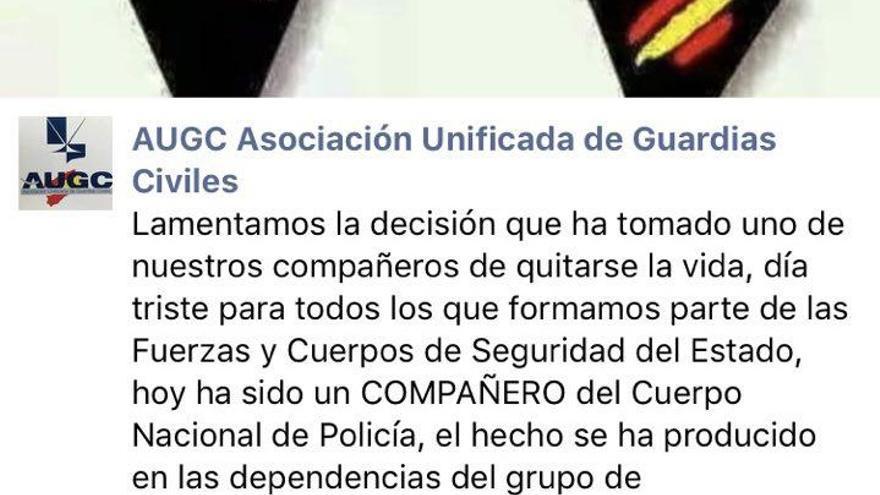 Condolencias de la Asociación Unificada de Guardia Civiles en su Facebook