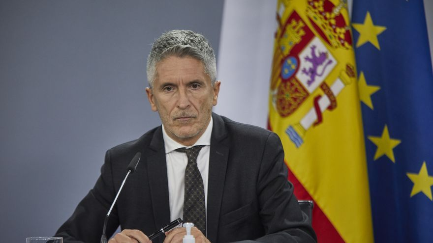 El ministro del Interior, Fernando Grande-Marlaska, durante una rueda de prensa en Moncloa