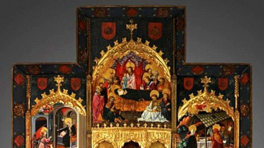 Un pueblo de Teruel recupera en un gran vinilo el retablo que perdió en 1932