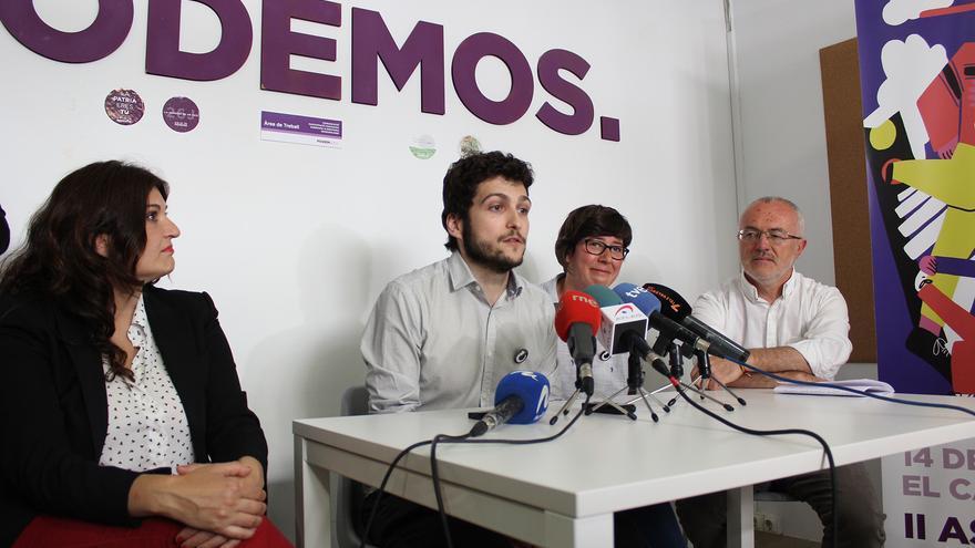 Antonio Estañ en rueda de prensa secundado por Fabiola Meco, Pilar Lima y Antonio Montiel