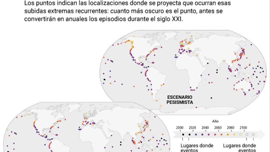 Mapa de zonas vulnerables a episodios de subida extrema del nivel del mar.