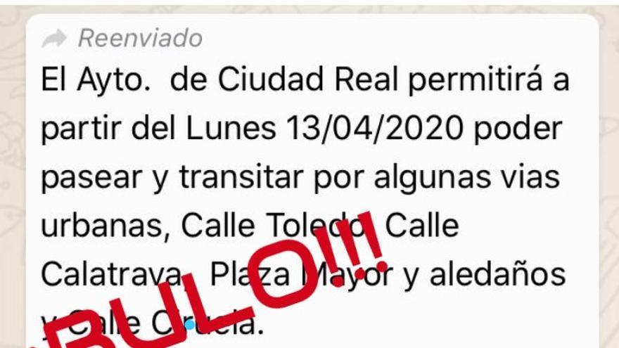Bulo que se ha difundido en Ciudad Real vía whatsapp