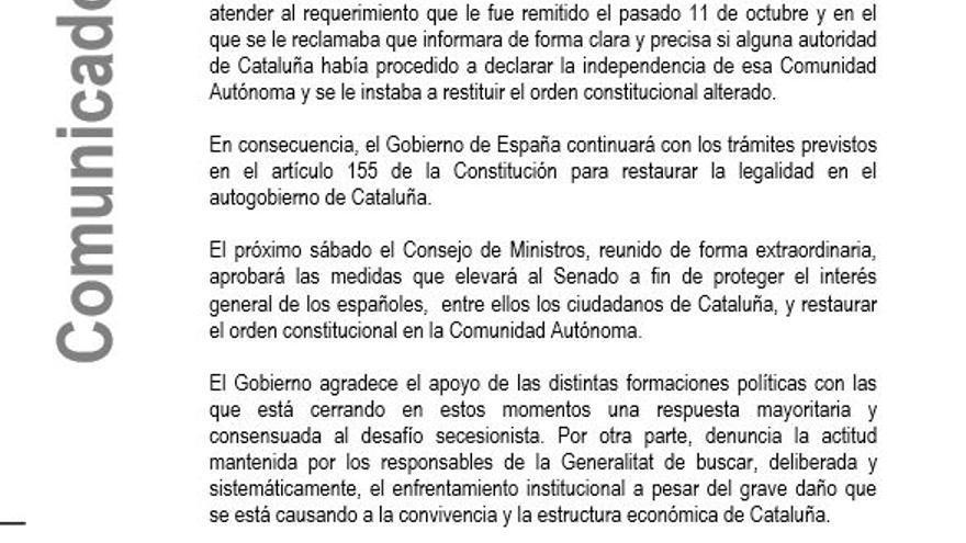 Comunicado del Gobierno sobre la respuesta de Puigdemont.