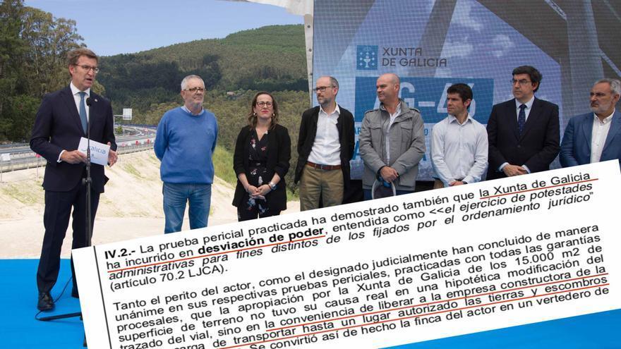 Inauguración de la Autovía do Morrazo y sentencia que condena a la Xunta por apropiarse de un terreno