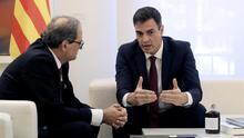 Pedro Sánchez y Quim Torra en su reunión en Moncloa.