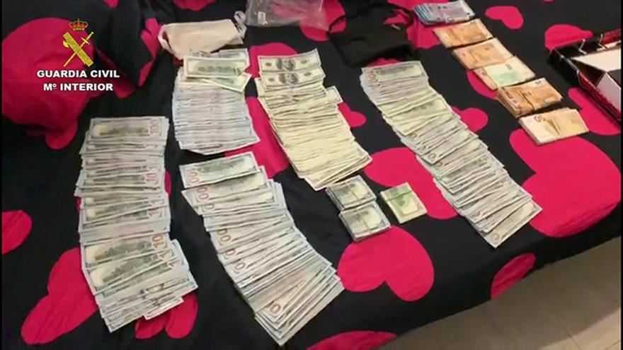 Dinero incautado en la operación 'Tubo' de la Guardia Civil
