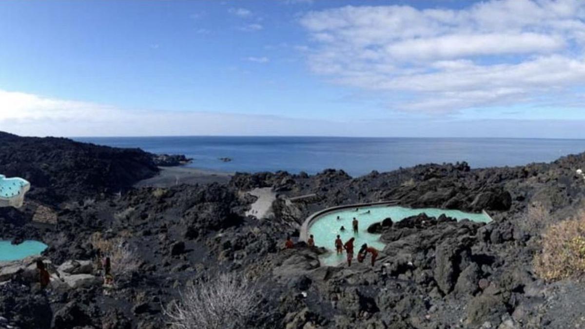 Recreación exterior del futuro balneario de Fuente Santa, en la costa de Fuencaliente.