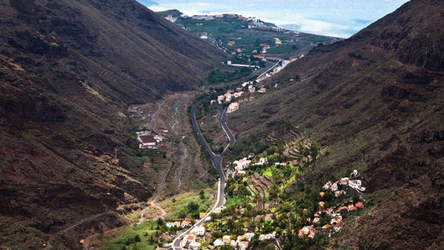Vista aérea del municipio de Valle Gran Rey, en La Gomera.