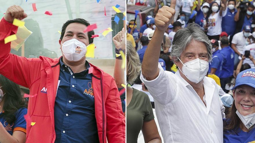 En cierre paralelo de sus campañas, los candidatos Andrés Arauz y Guillermo Lasso prometieron un futuro más prLas encuestas de intención de voto les prenuncian en el balotaje números parejos a los candidatos Arauz y Lasso.
