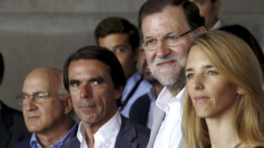 José María Aznar, Mariano Rajoy y Cayetana Álvarez de Toledo en la clausura del Campus FAES.
