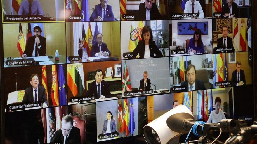 La videoconferencia entre Sánchez y los presidentes autonómicos, con la ausencia de Isabel Díaz Ayuso.