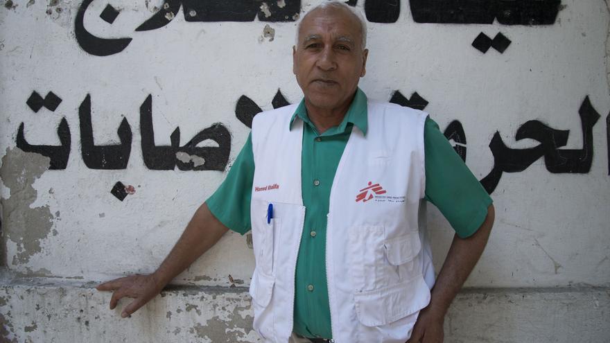 Hamed, vigilante en una de las clínicas de Gaza.