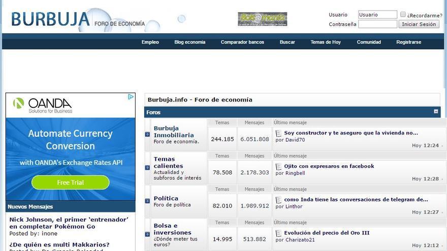 Burbuja.info mantiene la estética y la temática de sus inicios doce años después