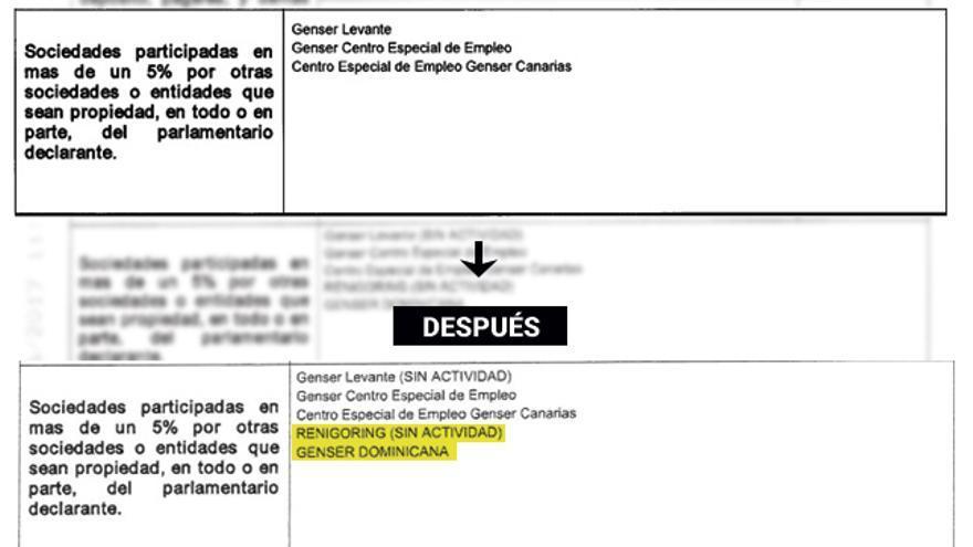 Extractos de la anterior declaración de bienes de Álvarez-Arenas y de la que acaba de presentar.
