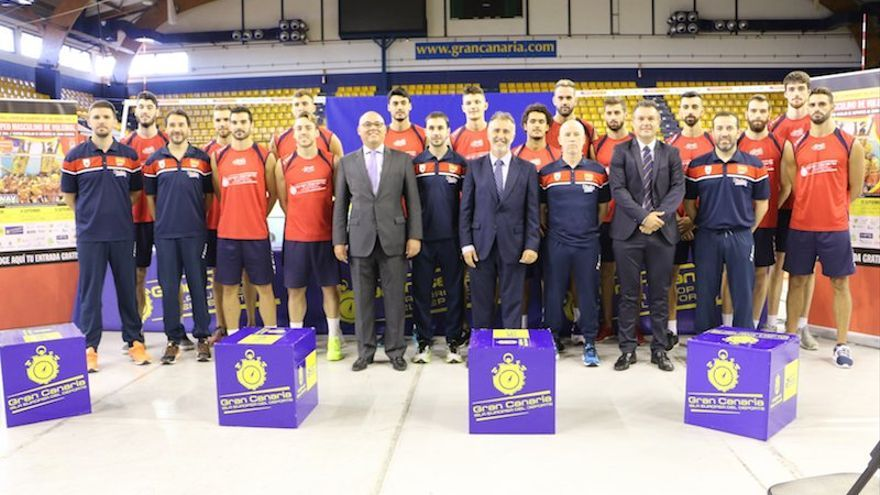Presentación del Pre-europeo de voleibol en el Centro Insular de Deportes, en Las Palmas de Gran Canaria.