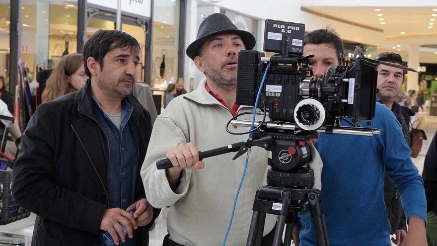 Foto del rodaje de la película El pais del miedo