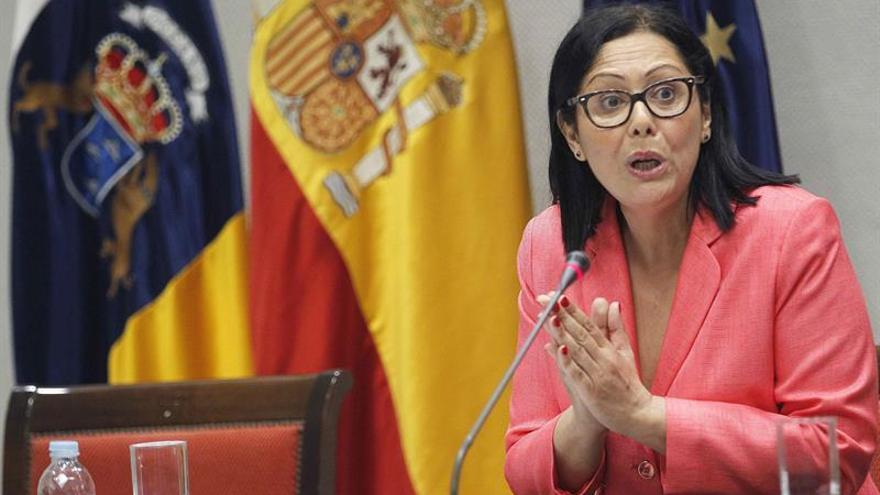 La catedrática María del Rosario García Mahamut, durante su comparecencia en la comisión del Parlamento de Canarias que estudia la reforma del sistema electoral. EFE/Cristóbal García