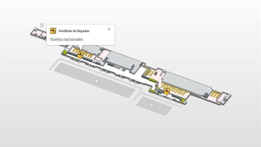 Plano de las terminales de llegadas del Aeropuerto de Gran Canaria (AENA)