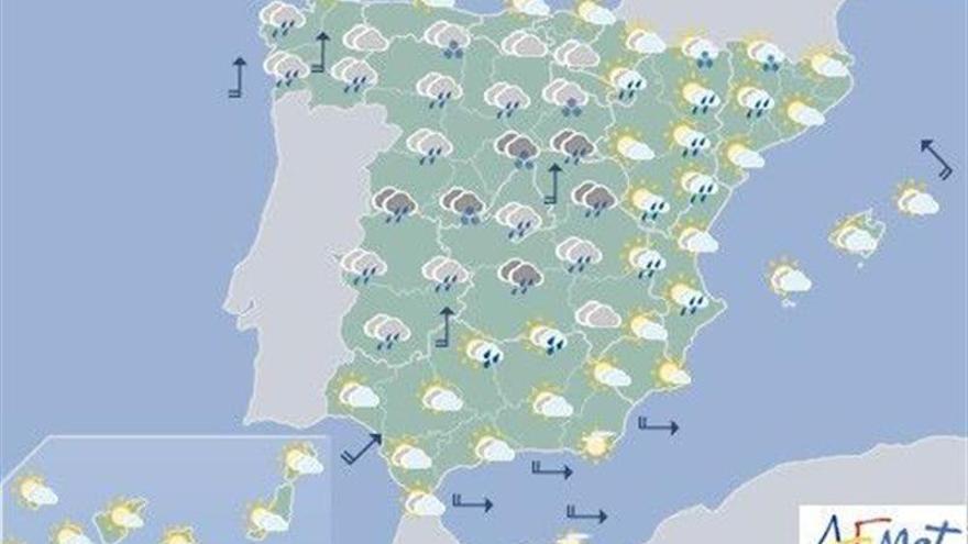 Hoy, lluvias localmente fuertes en Extremadura, Madrid y ambas Castillas