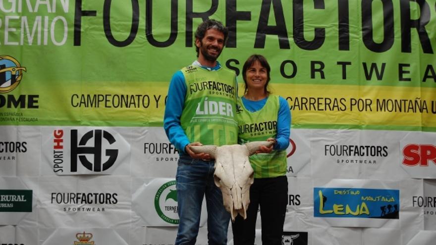 Luis Tejero y Nuria Domíngez tras lograr la victoria en la Ultra Güeyos del Diablu.