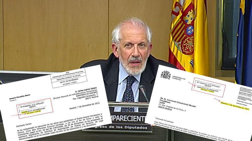 Petición de Adif y autorización de Fomento de puesta en servizo del AVE Ourense-Santiago y cargo del ministerio que la supervisó