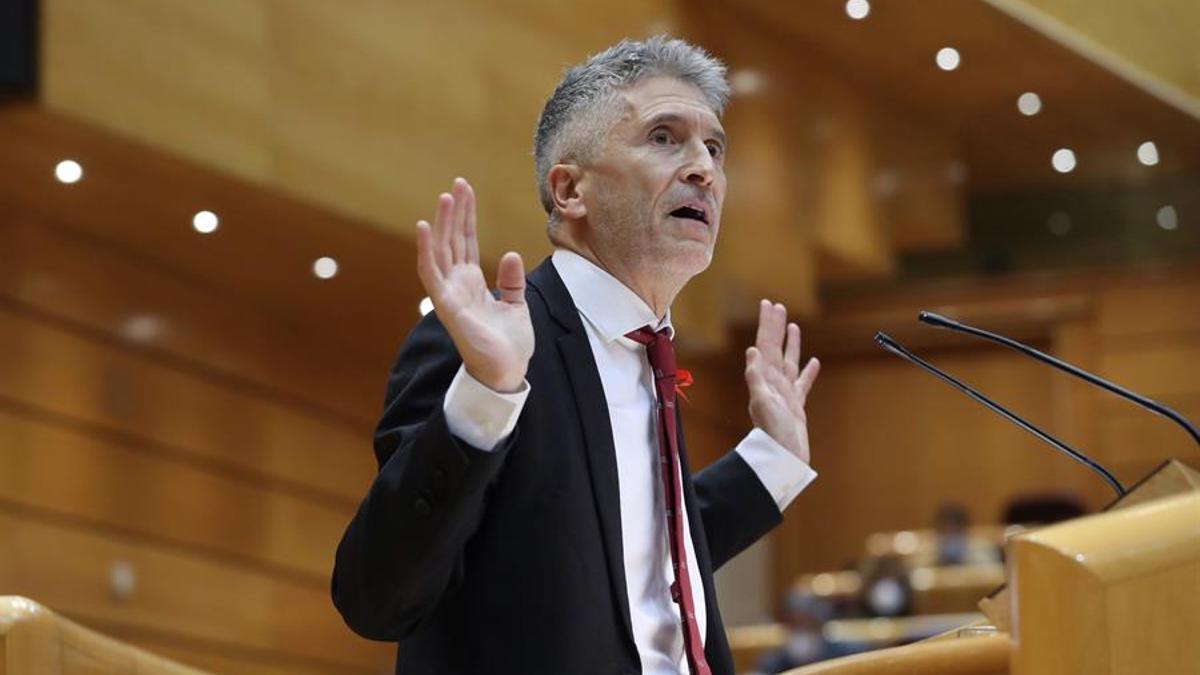 El ministro del Interior Fernando Grande Marlaska, interviene durante una sesión de control en el Pleno del Senado.