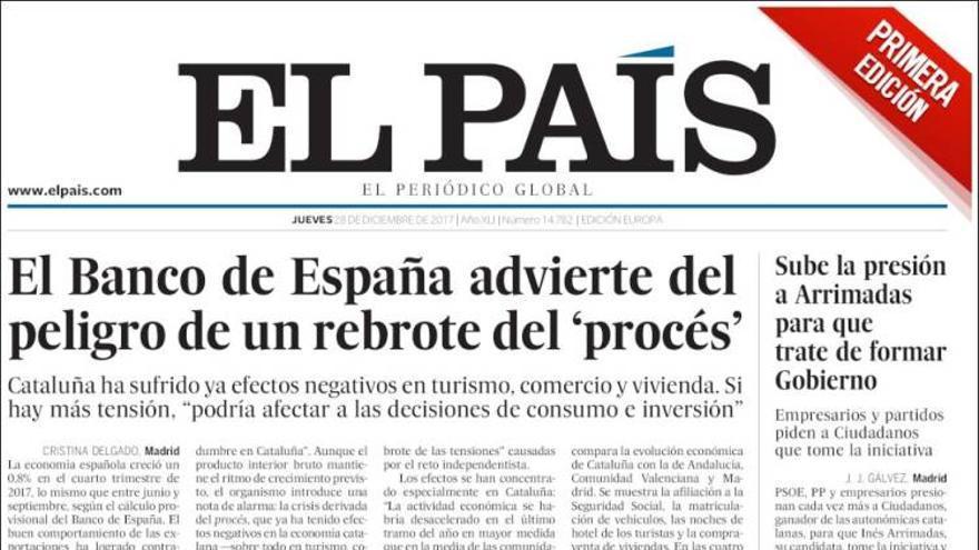 El País: portada de rectificación