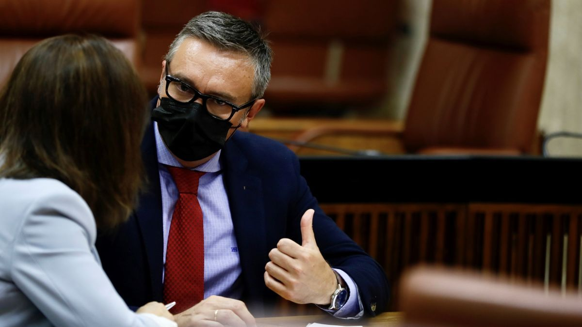 El portavoz parlamentario de Vox, Manuel Gavira, durante un pleno del Parlamento andaluz en Sevilla.