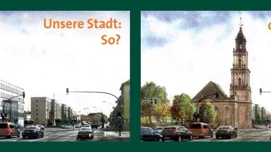 "Propaganda para construir la ""Garnisonkirche"" en Potsdam 2014 http://unterstuetzen.garnisonkirche.de/en/petition/"