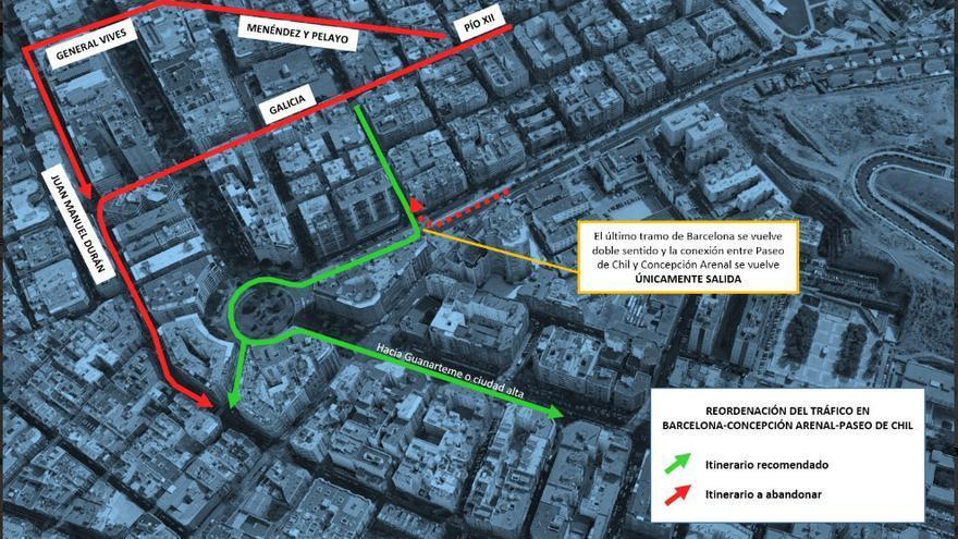 Reordenación del tráfico en el entorno de Mesa y López por las obras de la MetroGuagua.
