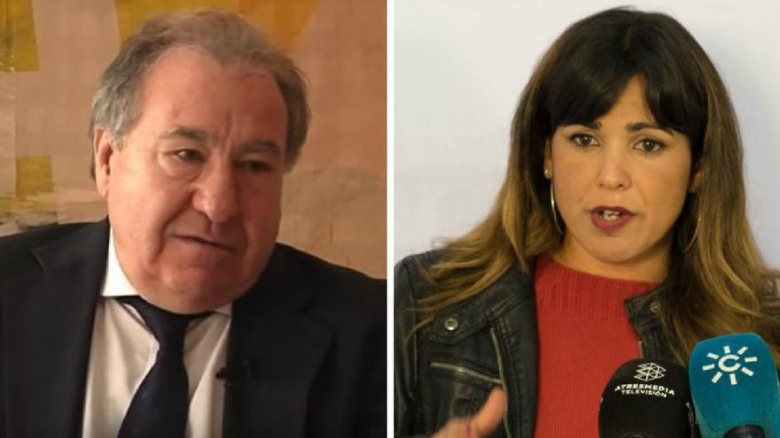 El empresario Manuel Muñoz Medina, dueño de Guadarte, y Teresa Rodríguez, portavoz de Podemos en Andalucía.