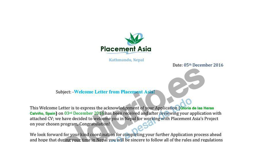Carta de aceptación en el programa