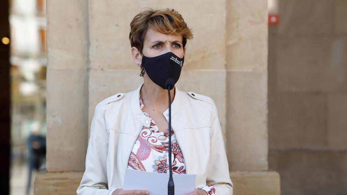 La presidenta de Navarra, María Chivite, en una comparecencia este pasado viernes