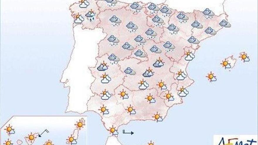Mañana, muy nuboso en el extremo norte y altas temperaturas en Canarias