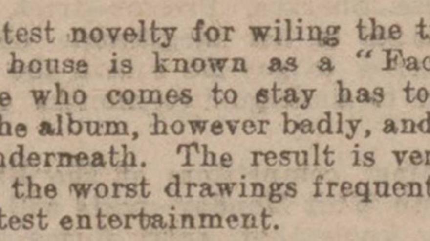 Fragmento del 'Western Times' en el que se habla de 'Face-book' (1902)