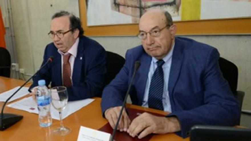 El rector de la UMU, José Orihuela, y Ordónez