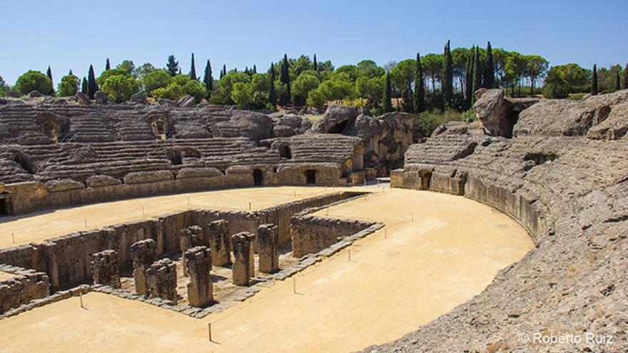 El anfiteatro de Itálica, con capacidad para 25.000 personas, fue uno de los mayores del imperio romano.