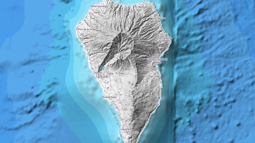 Mapa del IGN donde se indica el lugar donde se ha registrado el pequeño terremoto este jueves en el Barranco de Las Angustias.