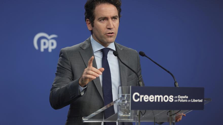 El secretario general del PP, Teodoro García Egea, comparece en una rueda de prensa tras una reunión del Comité de Dirección del PP, a 13 de septiembre de 2021, en Madrid, (España).