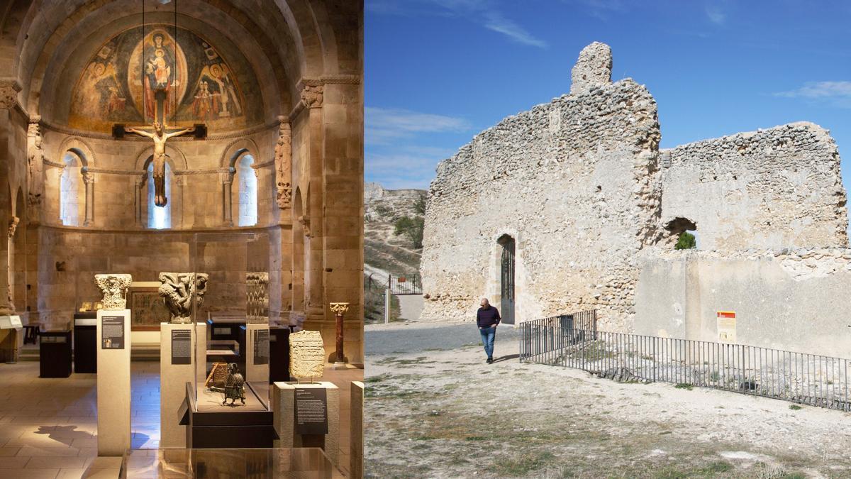 Ábside de la iglesia de San Martín de Fuentidueña en EEUU (izquierda) y estado del resto de las ruinas del monumento que quedaron en Segovia