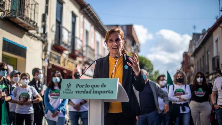 La candidata de Más Madrid a las elecciones autonómicas del 4 de mayo, Mónica García, en un acto con la militancia en Getafe