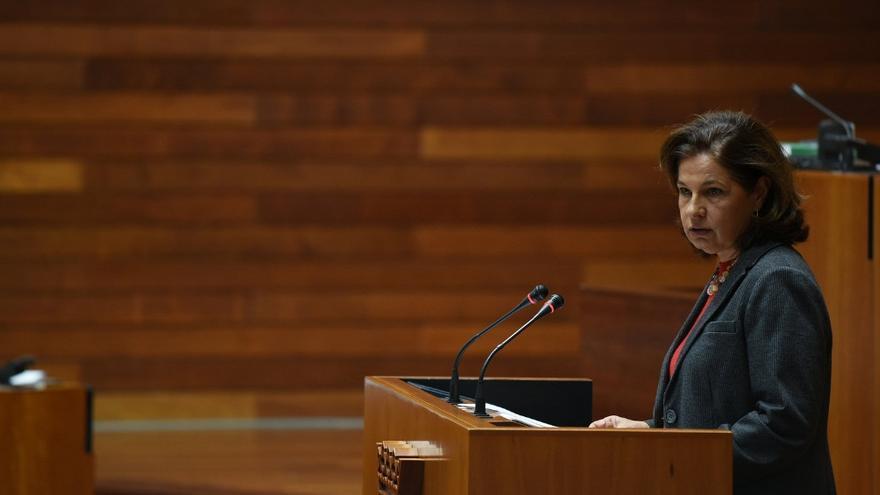 La vicepresidenta de la Junta y consejera de Hacienda y Administración Pública, Pilar Blanco-Morales, en el debate parlamentario