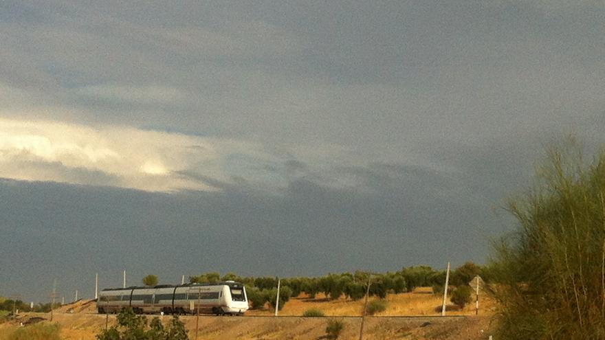 Tren en la vía convencional cerca de Mérida