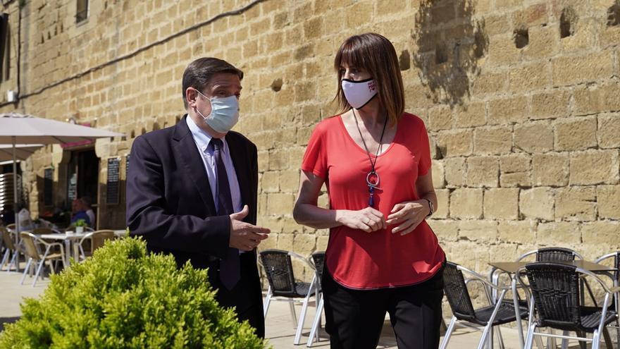 Idoia Mendia pasea con el ministro de Agricultura, Luis Planas, por Laguardia.