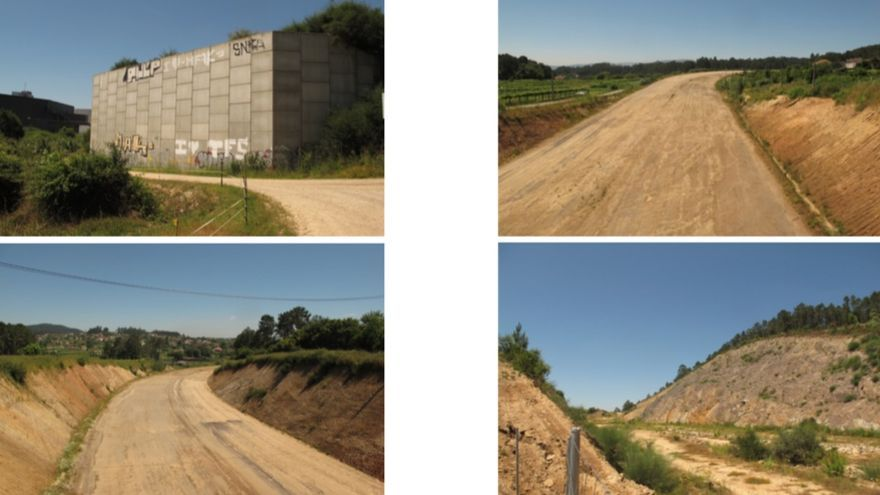 Imágenes incluidas por la Xunta en el documento a exposición pública en el que se refleja el estado inacabado del primer tramo del corredor del Baixo Miño, en las proximidades de Tui
