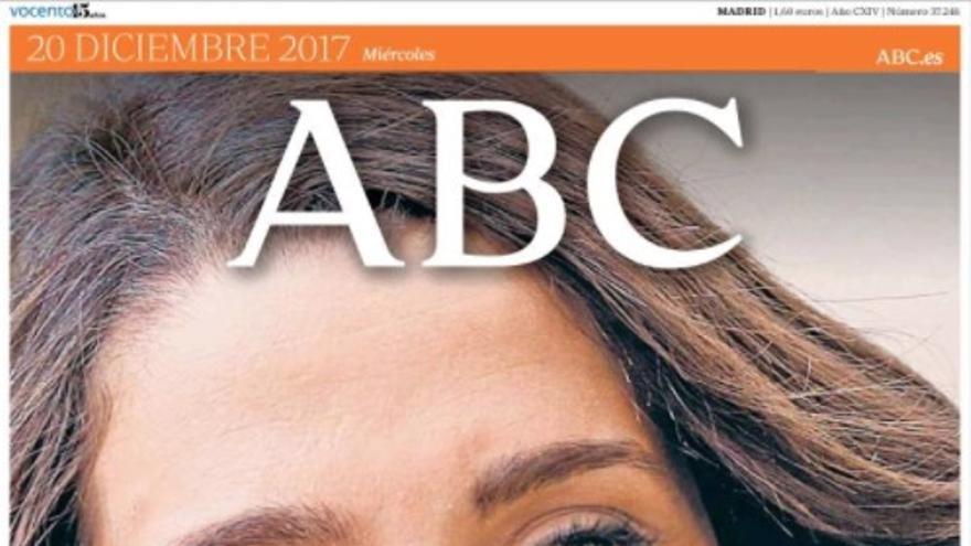 Portada de ABC con la entrevista a Arrimadas, el 20 de diciembre.
