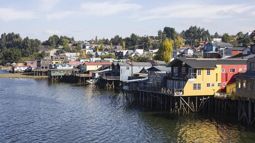 Palafitos en Castro, la capital de la isla de Chiloé.