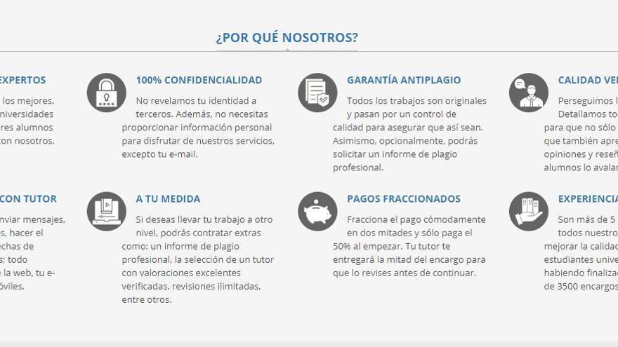 Imagen de una web de venta de trabajos académicos
