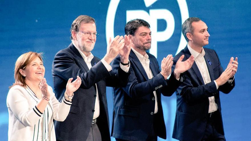 Isabel Bonig, Mariano Rajoy, Luis Barcala y César Sánchez en Alicante