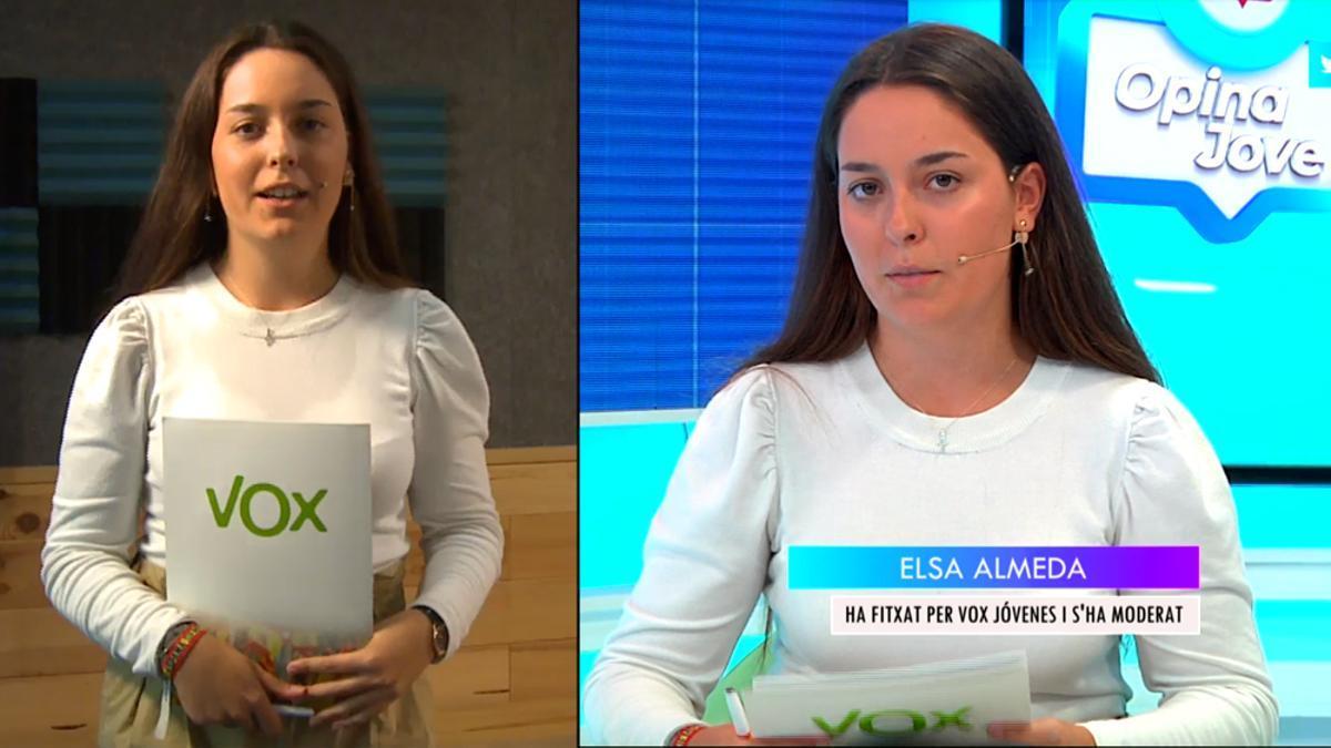 Elsa Almeda, al presentarse y en la tertulia de 8TV